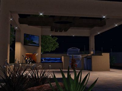 Pool Concept Render Night Kitchen